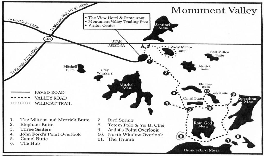 карта Долины Монументов